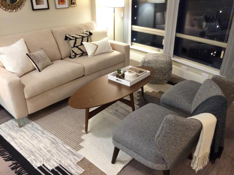 Luxury living room designed for relaxing in total comfort.  West Elm designed furnishings. - Downtown Vancouver Executive 2 bedroom 2 bath - Vancouver - rentals