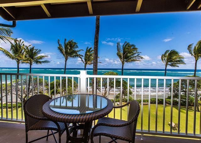 Oceanfront Lanai with Outdoor Sitting - Kapaa Shore Resort #308, Oceanfront, Moon Rise & Sunrise views from 3rd floor - Kapaa - rentals