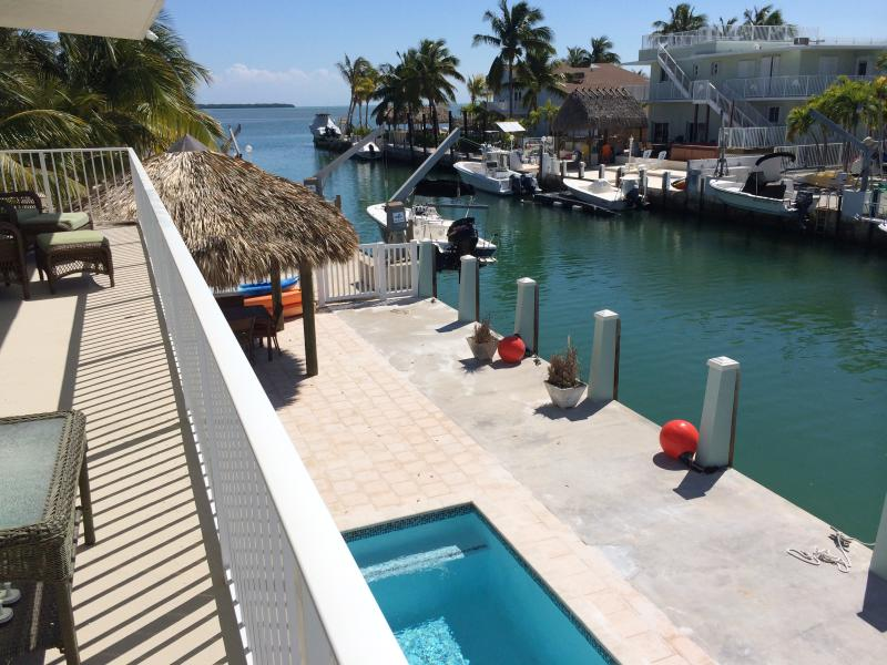 Ocean View, 3 houses from the open ocean. Upstairs covered patio - OCEAN FRONT POOL HOME PARADISE - Islamorada - rentals