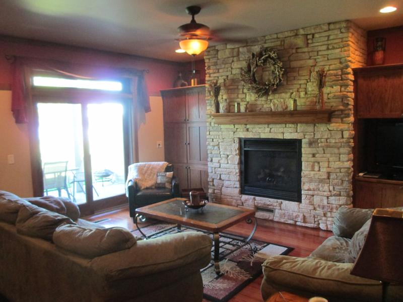 Family Room with Gas Fireplace, HD TV, Satellite & DVD - SERENE & LUXURIOUS LAKEFRONT CONDO ... 3 hrs from Chicago & 1 hr from Madison ! - Marquette - rentals