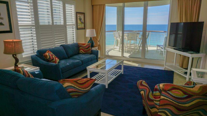 Living Room with Balcony Access - Beach Colony Resort W 13A - Navarre Beach - rentals