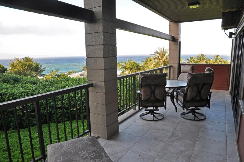 Lanai off of the living room with plush furniture. - Kapalua Villa-Panoramic Ocean Views, Frontline - Lahaina - rentals