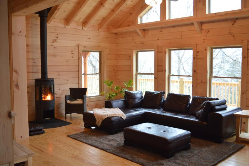 Enjoy a cozy evening with a fire in the stove - Chalet at Winghaven, Sunny New Log Home - Fletcher - rentals