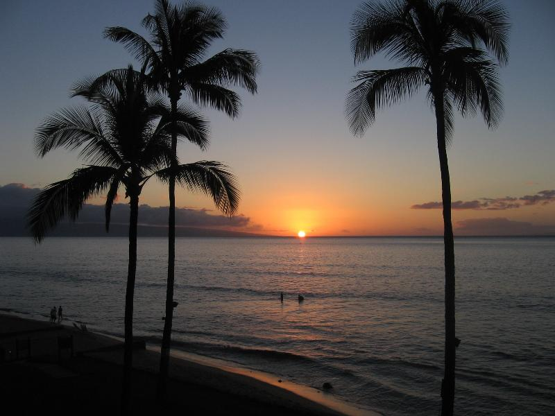 Papakea Oceanfront condo.  This is the view from our deck at sunset - Spectacular Oceanfront Condo. SPRING SPECIALS! - Kaanapali - rentals