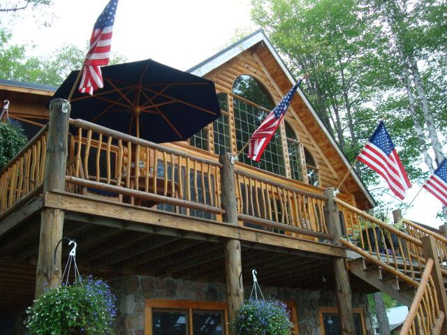 Deck overlooking the pond - Beautiful Vermont Log Cabin on Neal Pond - Lunenburg - rentals