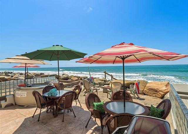 beachfront dining  - 10 Bedroom Home on Beach, Semi-Private Beach, Rooftop Decks.. - Oceanside - rentals