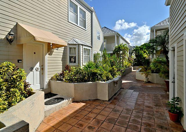 Walkway and Front Entry - Duval Square Penthouse: A large, beautiful condo steps from the action - Key West - rentals