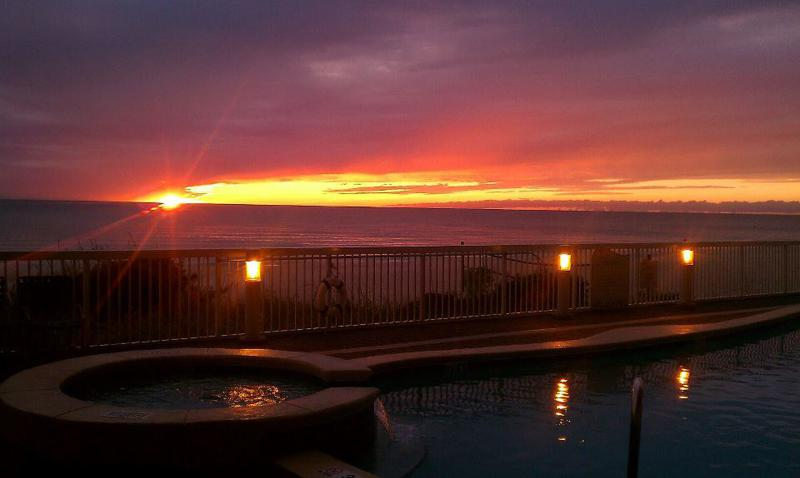 Sunset from our pool deck - Seychelles 405 Vacation Rental, Panama City Beach - Panama City Beach - rentals