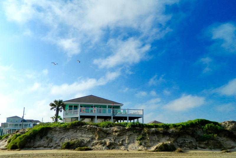 view of dune and house from the beach - Absolutely The Closest to the Beach with Best View - Crystal Beach - rentals