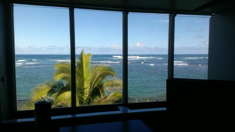 You can enjoy this view from the windows your entire stay - North Shore Oahu Beachfront Condo, 2BR / 2BA - Waialua - rentals