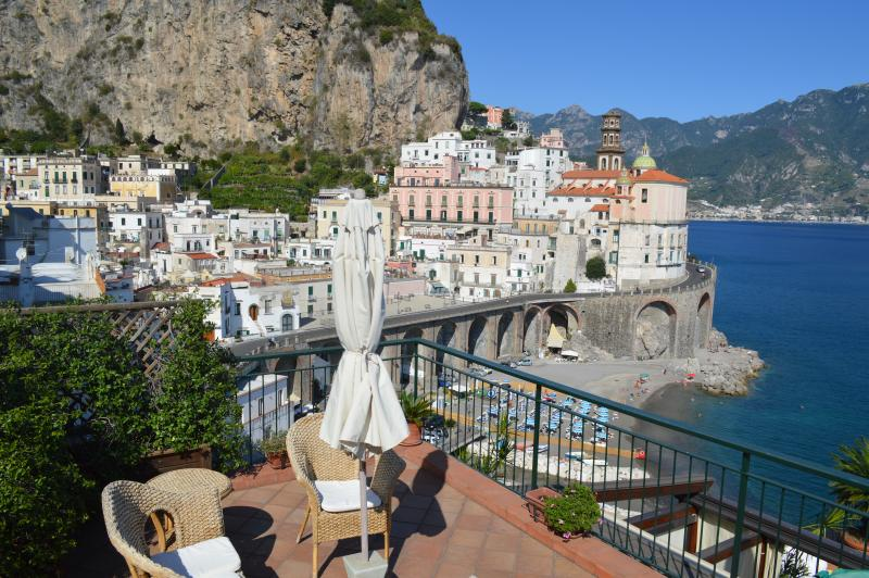 Corner of main terrace overlooking Atrani, the beach, and the sea - Beach at your feet, Super view, Walk to Everything - Atrani - rentals
