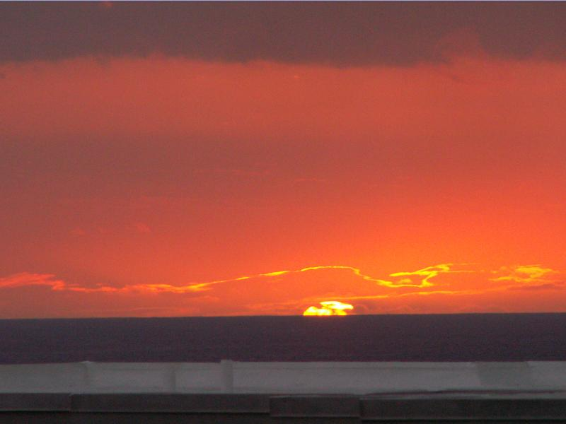 Sunset from the lanai - July 7, 2012 - this photo was not edited in any way - Alii Villas Condo - Super Ocean View - Free WiFi - Kailua-Kona - rentals