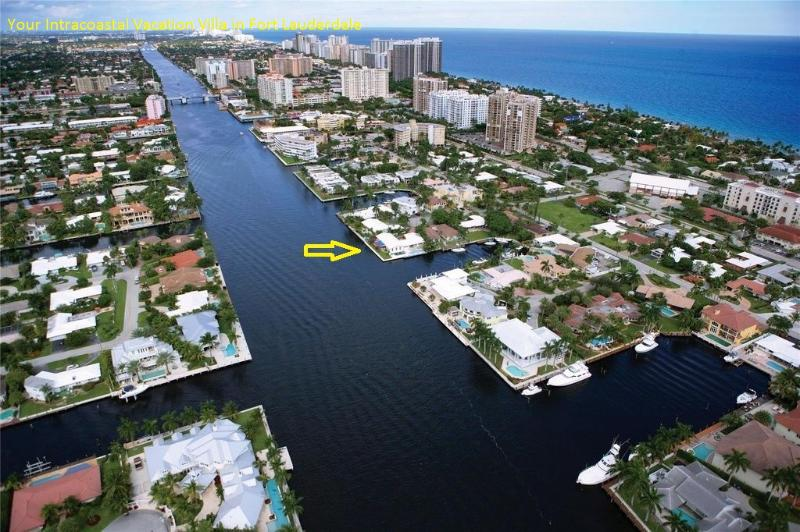 Arrow shows our great location and proximity to beach - Huge Intracoastal Waterway Villa - Fort Lauderdale - rentals