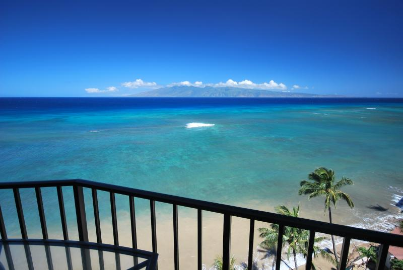 Unbelievable views from the lanai of Pacific and Islands of Molokai (pictured) and Lanai - Spectacular Direct Oceanfront, 11th fl. 2 BR/2BA - Lahaina - rentals