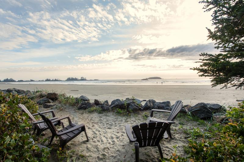 Chesterman Beach 50 feet from the suite, private beachfront seating area - Tofino Beach Suite (Loft) on Chesterman - Tofino - rentals