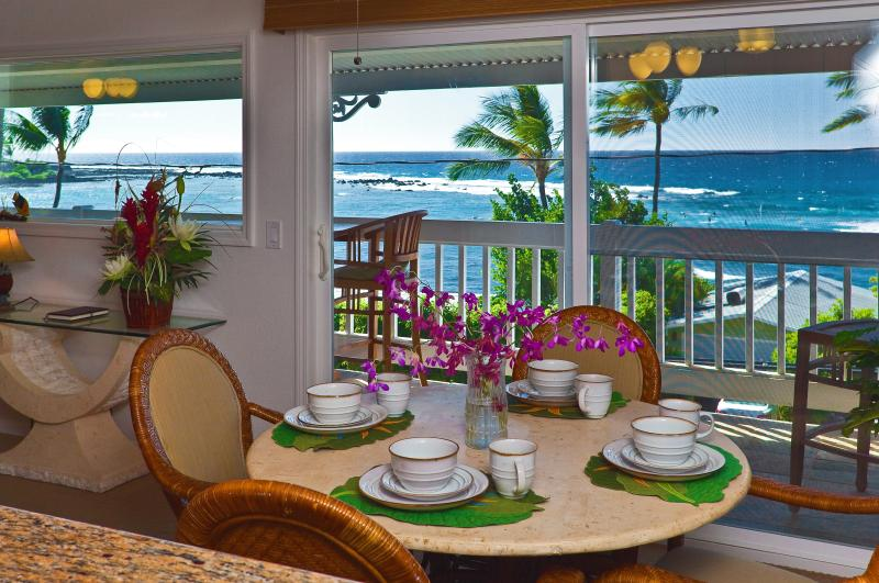 Yes, this really is the awesome view from the kitchen - Kahaluu Bay Across from Snorkel Beach - Ocean View - Kailua-Kona - rentals