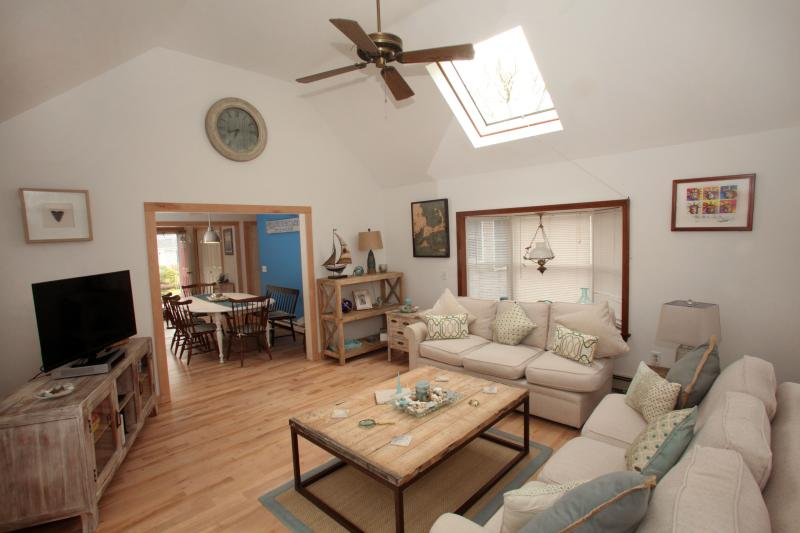 Open concept, cathedral ceiling flowing into eat in kitchen, - Cape Escape! Private Setting 5' Walk to the Beach! - Chatham - rentals