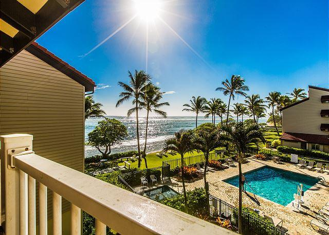 Lanai with an Ocean View - Kapaa Shore Resort #324, Ocean View, Washer/Dryer, Great Location and Views! - Kapaa - rentals