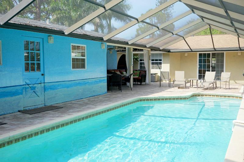 Your gorgeous pool.. outdoor kitchen, shower and seating area - Siesta Beach Cottage 1mi to Siesta w/ shared pool - Sarasota - rentals