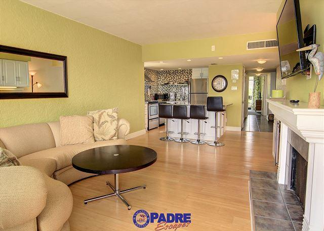 Spacious kitchen, dining, and living area - Recently updated 2/2 condo steps away from Schlitterbahn - Corpus Christi - rentals