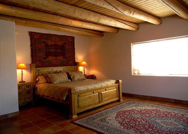 Heathers Hacienda Master Bedroom #1  - Heathers Hacienda 1 Town VIews CIty Lights Evap cooling hot tub - Taos - rentals
