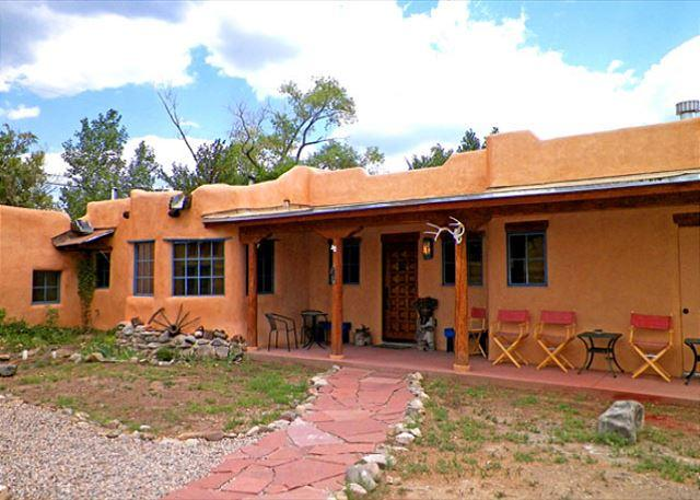 Portal showing front entry of main house & attached cabin / casita far left - Alfreds Compound Main + Guest House in Town Hot Tub Wifi - Taos - rentals