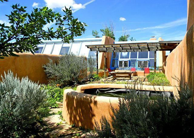 "Looking from back of guest house toward patio and main house  - John Shaw's Earthship & Guest House ""green architecture"" - El Prado - rentals"