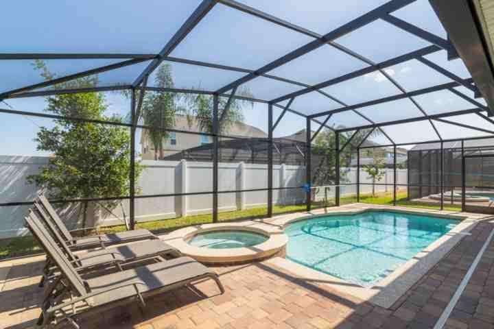 Covered Lanai; Large Pool Deck w/Private Pool & Spa - 1355 West Haven - Davenport - rentals