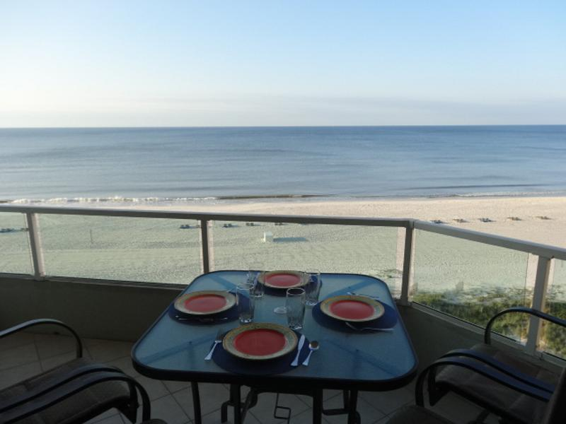 New bar height patio set. Enjoy the panoramic view from our 6th floor balcony. - DirectGulf Front!10/22-10/29  630   tx & cln. - Orange Beach - rentals