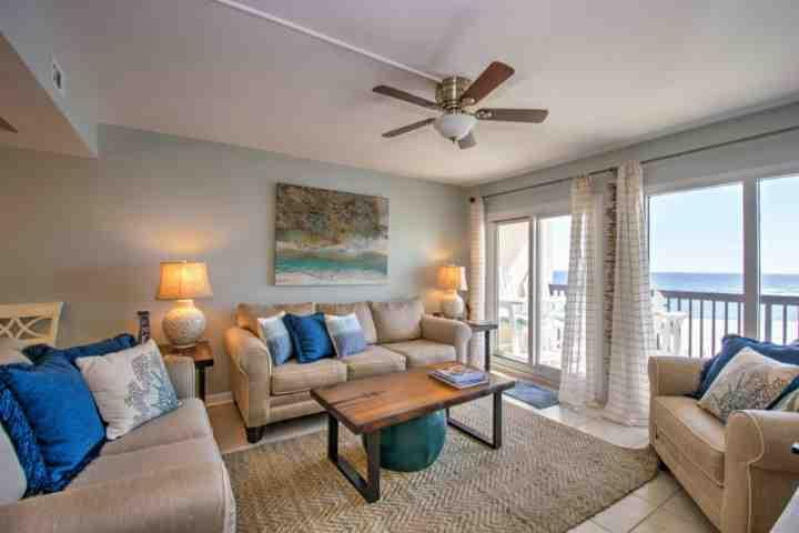 Living Room / Open Floor Plan - Newly Remodeled - C3-201 End Unit! 2BR/2BA Gulf Views!!! - Panama City Beach - rentals