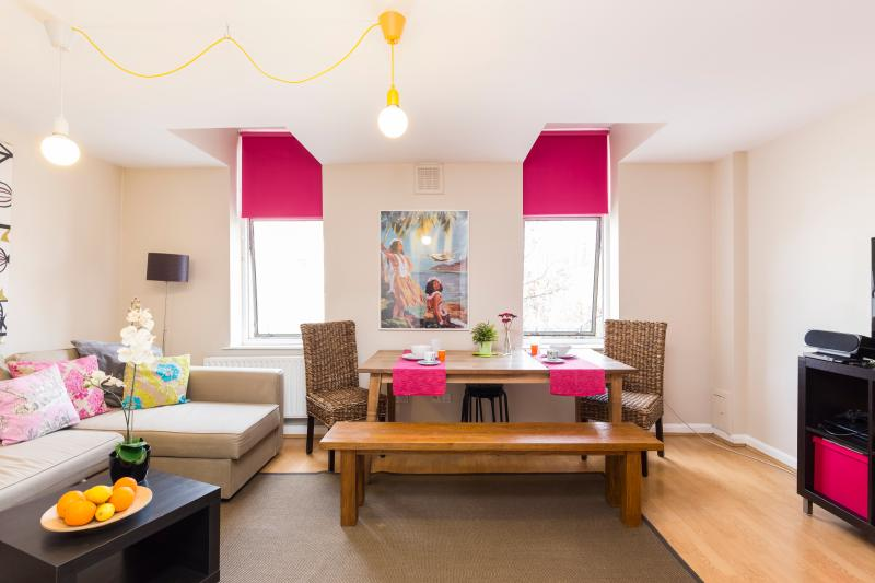 Spacious living room with table, entertainment system, sofa-bed, blackout blinds  - SPECIAL OFFER Trendy spacious apartment in Angel - London - rentals