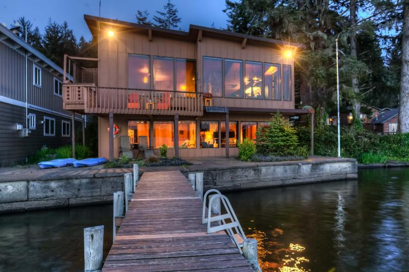 View of home from Lake - Brannholm Lakefront Home with Dock-Pet Friendly - Lincoln City - rentals
