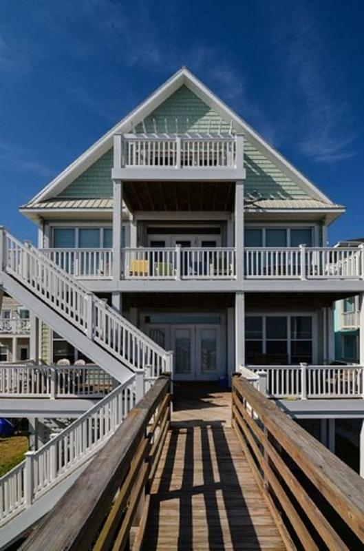 VIEW FROM THE BEACH - Song of the South-Amazing  Oceanfront Duplex, W/Elevator 4 bedrooms lower level - Carolina Beach - rentals
