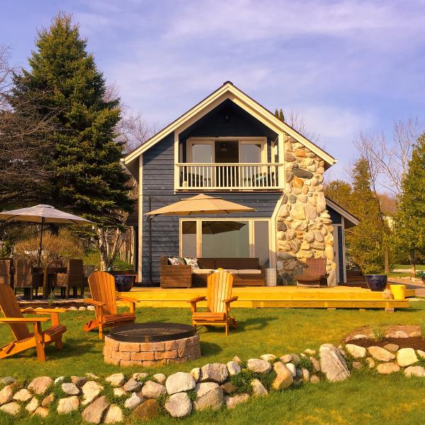 Front Yard faces the lake.  New deck with comfy seating and fire pit - Book 4 consecutive nights in December: SAVE  100- - Charlevoix - rentals