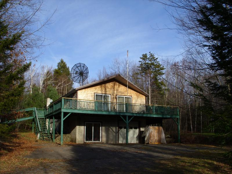 "South view from lower Driveway and entrance to the ""MUD/MUSIC ROOM"" - Mountain Top Home Rental - Tannersville - rentals"