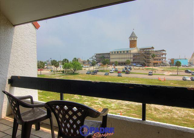 Living room balcony view of Schlitterbahn water park - Comfy Coastal Condo at the entrance to the All-New Schlitterbahn Water Park - Corpus Christi - rentals