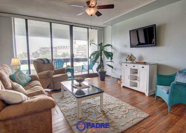 Living area with a great view of the Schlitterbahn water park - Remodeled 2 bedroom Condo at the entrance to the New Schlitterbahn Water Park - Corpus Christi - rentals