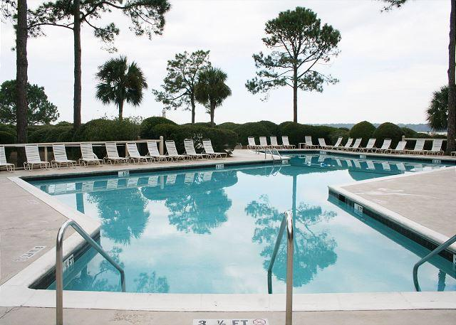 Pool measures 21' x 62' - Fabulous Top Floor Villa on the Beach with Sound/ Ocean Views at South Beach! - Hilton Head - rentals