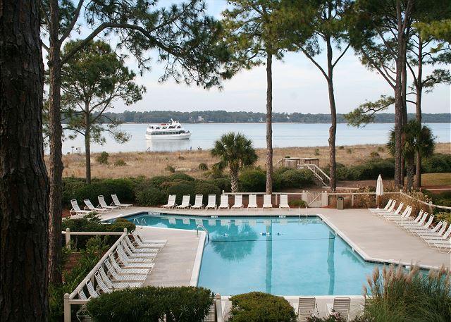 Beachfront Pool measures 21' x 62' - Beautiful Beachside Villa Overlooking Pool, Sound & Ocean. Walk to Salty Dog! - Hilton Head - rentals