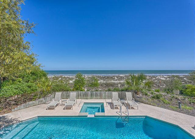 Pool measures 19' x 34' & can be heated for a fee - Oceanfront 5 Bedroom Home with Pool, Spa & Ping Pong Table - Hilton Head - rentals