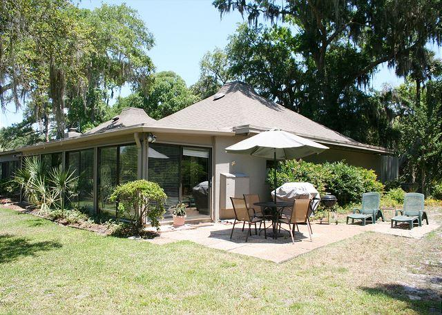 Patio with Gas Grill - 2 Bedroom Pet Friendly Ground Floor Villa with Golf Views! - Hilton Head - rentals