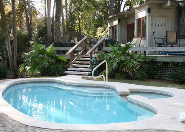 Private Pool & Poolside Spa can be Heated for a fee - Comfortable Beach Home Close to Beach with Great Yard, Private Pool & Spa! - Hilton Head - rentals