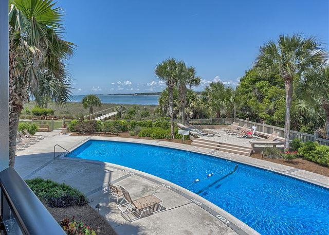 Beachfront Pool measures 20' x 40' - 3 Bedroom Villa with Views of the Pool, Beach & Calibogue Sound! FREE TENNIS! - Carlisle - rentals