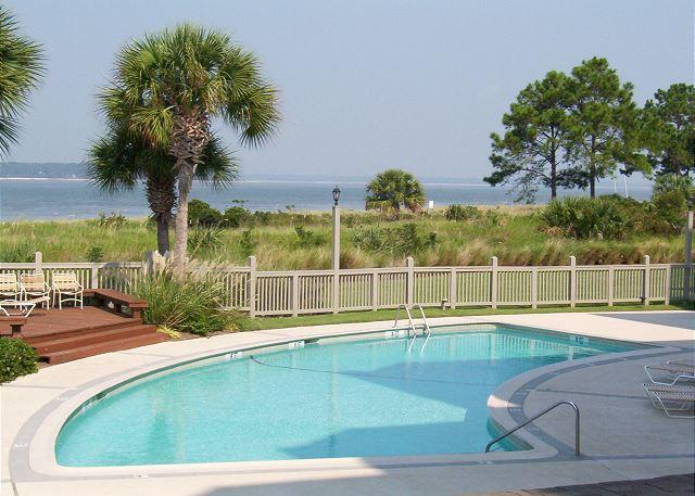 Beach Front Pool measures 20' x 40' - Fantastic Sea Pines Views of the Pool & Calibogue Sound!  FREE TENNIS! - Hilton Head - rentals