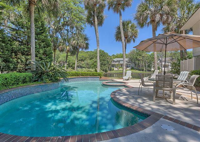Private Pool & Spa can be Heated for a fee - Exquisite Home on 11 Mile Lagoon with Private Pool & Spa + Dock - Hilton Head - rentals