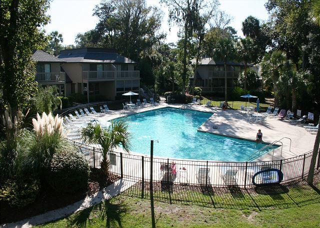 On Site Pool measures 26' x 52' - Lovely 3 Bedroom, 3.5 Bath Townhouse, On Site Pool and Easy Walk to Beach! - Hilton Head - rentals