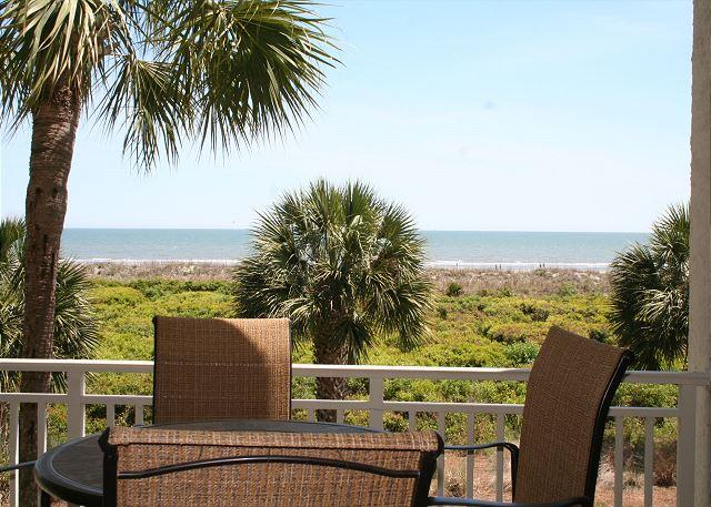 View from Master Bedroom - 2 Bedroom Oceanfront 2nd Floor Villa with Private Oceanfront Balcony! - Hilton Head - rentals