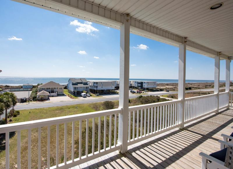 View of the Atlantic Ocean from the 3rd Floor Deck - Oceanview 8BR; Heated Pool; Elevator; 70in SmartTV - Ocean Isle Beach - rentals