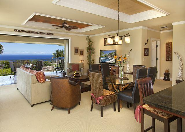 Living and dining room with ocean views - BEAUTIFUL OCEANVIEW VILLA! LAVA FLOW SPECIAL AUG-OCT 7TH NIGHT COMP - Kamuela - rentals
