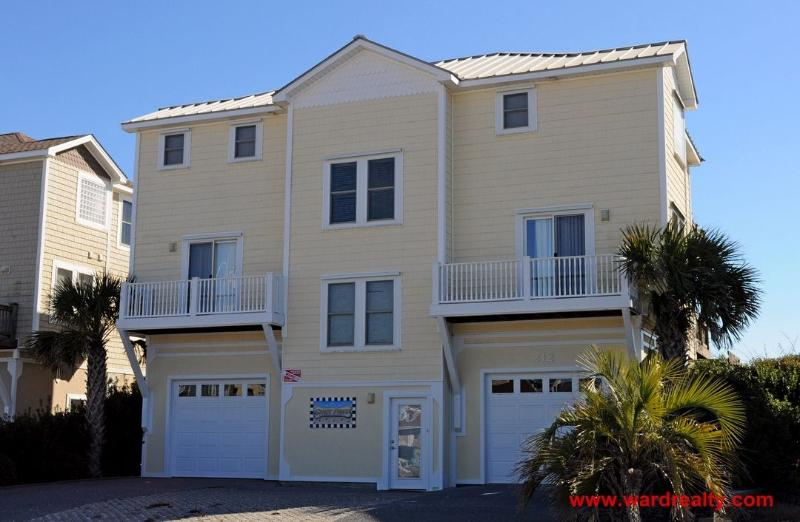 Beach Dreamer Streetside Exterior - Turn your vacation dream into reality at this amazing 5 BR oceanfront home with elevator and more - Beach Dreamer - North Topsail Beach - rentals